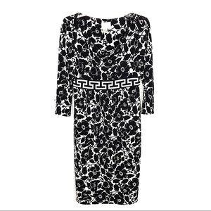 Donna Morgan   Black/White Floral Cowl Neck Dress